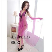 00253Super sexy spell color long nightgown Pajamas+thong type