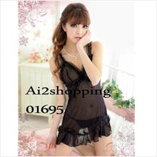 High-quality solid color fun sexy princess nightgown+thong01695