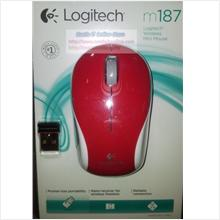Logitech Mouse Wireless M187 Optical Mini RED (910-002742)