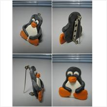 RARE ITEM !! LIMITED HANDMAKE LINUX PENGUIN BROOCH