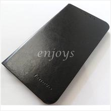 Enjoys: Premium Leather Pouch Stand Book Cover Case Lenovo A880 ~BLACK