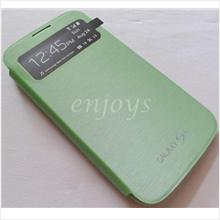 Premium Chrome GREEN S View Flip Cover Pouch Samsung I9500 Galaxy S4