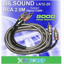 BIL-SOUND LA12-20 2 Meter Twisted Signal RCA Cable Made In Germany