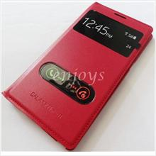 Premium Leather RED S View Flip Cover Samsung Galaxy Note II 2 N7100