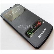 Enjoys: Premium Chrome BLACK S View Flip Cover Case Pouch Lenovo S920