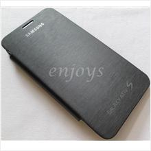 Enjoys: Chrome BLACK Flip Battery Cover Pouch Samsung Ativ S I8750