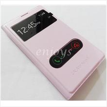 Premium Leather PINK S View Flip Cover Samsung Galaxy Note II 2 N7100