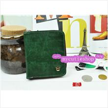 PR039_DarkGreen Korean Ms.Crown Short Zipper Wallet