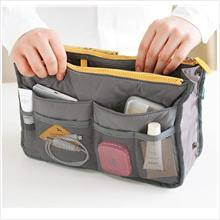 PR080_Grey Korean Design Double Zip Bag in Bag Storage Bag
