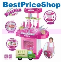 Girls Kitchen Pretend Play Set Sound & Light Educational Toy Cooking