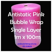 Antistatic Bubble Wrap Pink 1m x 100m Plastic Packaging *Free Shipping