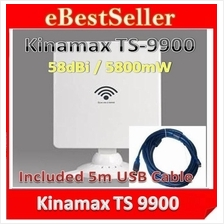 5m Cable+ Kinamax TS-9900 5800mW 58dbi LAN Card Power Wifi USB Adapter