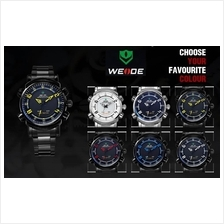 Weide WH-1101 Dual Time Led Analog Digital Sport Watch Silver Black