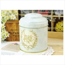 English Vintage Double Cover Metal Tea Tin Canister Storage Boxes
