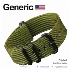 GENERIC USA Zulu Extreme 5-Ring PVD Military Watch Strap (Olive) 22MM