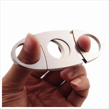 Double Blade Stainless Steel Pocket Cigar Cutter Knife - Silver