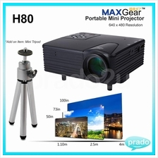Portable Mini Projector H80 USB VGA SD 640x480 HDMI 400:1 LED SCS