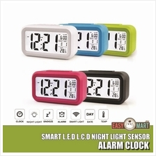 Smart LED LCD Calendar Alarm Clock Night Light Sensor + FREE Battery