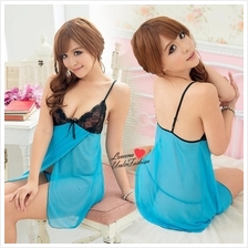 Blue Babydoll Dress Sexy Lingerie Nightwear L2038