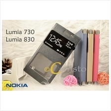 Nokia Lumia 730 / 830 Leather Flip Cover Case Casing Screen Protector