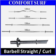1.2m 1.5m 1.8m Barbell Straight / Curl Pole GYM Sport Dumbbell Bar