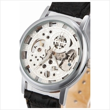 Cross Skeleton Design Unisex Manual Winding Mechanical leather Watch S