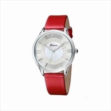 Eyki Kimio KW528M Silver Ladies Red Leather Watch