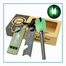 PA032 Magnesium Flint Fire Starter Kit with Whistle & Luminious Handle