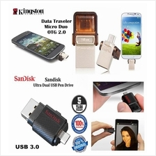 Kingston Sandisk 3.0 Micro Duo USB Pendrive OTG 8GB/ 16GB/ 32GB/ 64GB