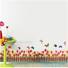 DIY Tulip Removable Show window Decor Skirting Wall Stickers