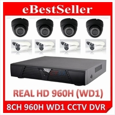 8 Channel CCTV Full HD 960H WD1 Network DVR + Package 1200TVL Camera