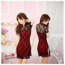 Double Layer Lace CheongSam Dress CNY Costume L3099