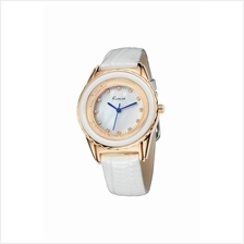 Eyki Kimio KW512 Women's Gold-plated White Leather Watch