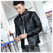 Men PU Leather Jacket Coat Blazer/Waterproof  Windbreaker Jacket Suit