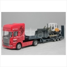 Affluent Town 1:64 Diecast Carrier Trailer And Bulldozer RED Vehicle