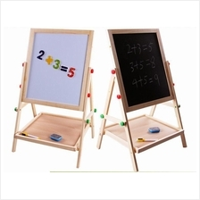 Kid's Wooden 2 In 1 Easel Blackboard And Whiteboard Double Sided