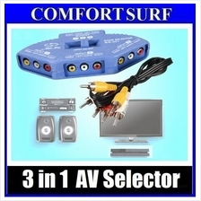 3 IN 1 Audio Video Av Selector Switcher Switch Box A/v Input Output