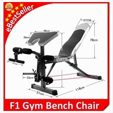 F1 Gym Fitness Sit Up Dumbbell FID Bicep Leg Curl Bench Chair