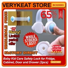Baby Kid Care Safety Lock for Fridge, Cabinet, Door and Drawer (2pcs)