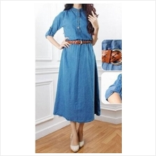 [VErn] Half Button Denim Jubah Dress (Including Belt) - 9521OWJ
