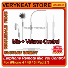 Earphone With Mic/Microphone Volume Remote Control for iPhone 4/4S/5