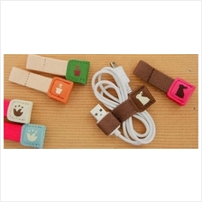 Sale! Korean Leather Cable Tie Wrap Charging USB Cable For 2 PCS