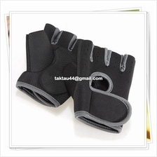 Sport Gym Half Finger Gloves Weight Lifting - Black with grey edge