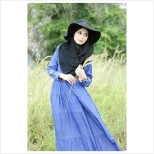Half Button Layer Collared Denim Jubah Dress (Includin... - BOWJ-548