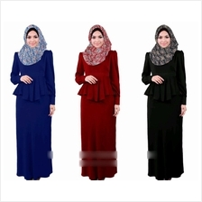 [VErn] 2 Pieces Joint Peplum Jubah Dress (Including Shawl) - 9557OWJ