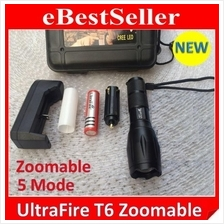 Ultrafire Brightest T6 LED Zoomable Torch light  5 Ajd Mode Flashlight