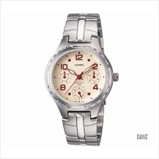 CASIO LTP-2064A-7A2V Ladies metal analog 3 dial red decal & hand metal