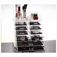 Acrylic Makeup Organizer Jewelry Case Semi Round 9 Drawer Storage Box