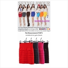 Stretchable Candy Multi Colour WIDE Band Short Mini A-Line Skirts