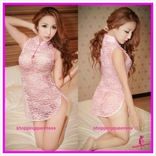 Pink Lace Cheongsam Dress + G-String Sleepwear Costume Sexy Lingerie